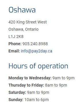 Pay2Day Oshawa location