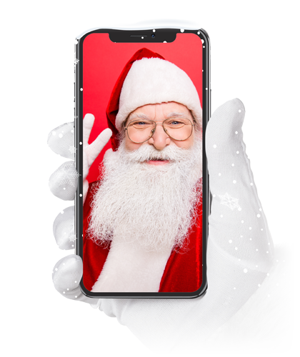 Santa Clause holding a phone in his hand