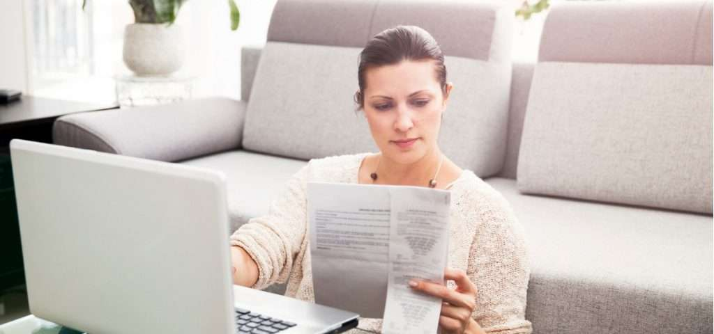 Woman filing taxes online